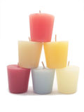 Candles. Different colored candles over a white background Stock Photos