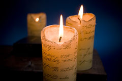 Candles. Burning candles creating a warm romantic setting royalty free stock photos