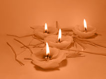 Candles. Four candles lighting warm Royalty Free Stock Photo