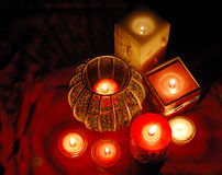 Candles. Decorative candles are glowing in the dark Stock Photography