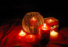 Candles. Decorative candles are glowing in the dark Royalty Free Stock Images