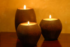 Candles. 3 candles on table Royalty Free Stock Photos