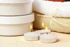 Candles and accessories for spa. Candles and accessories for the spa treatment Stock Photography