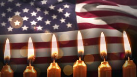 Candles against american flag. Digital composite of Candles against american flag stock video footage