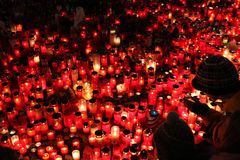 Candles alight in memoriam late Czech president Vaclav Havel Royalty Free Stock Photos
