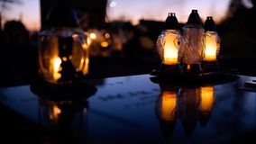 Candles of All saints day. 1st of November, All Saints Day,  Krakow Poland Royalty Free Stock Photos