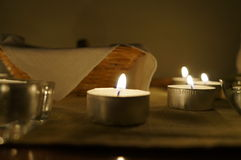 Candles on altar. Nice and cosy candlelight and small altar Royalty Free Stock Photos
