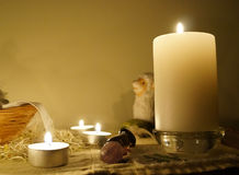 Candles on the altar. Nice cosy candles on the altar, night time Royalty Free Stock Images