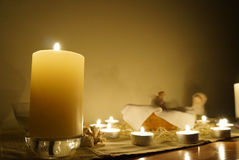 Candles on the altar. Nice cosy candles on the altar, night time Royalty Free Stock Photos