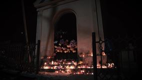 Candles at the altar, opening doors, horror night stock video