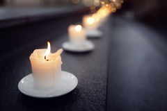Candles on alter steps in a church. Religion concept Stock Images