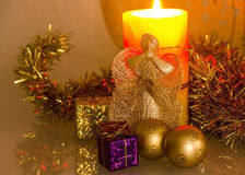 Candles and Angel. Burning candles and Christmas Angel Stock Photography