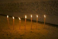 The candles in the Armenian apostolic church. During baptism Royalty Free Stock Images