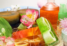 Candles and aromatic soaps Royalty Free Stock Photography