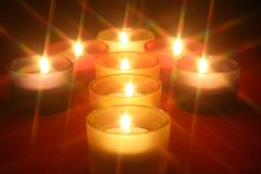 Candles arranged as an arrow Royalty Free Stock Photos