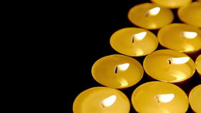 Candles background, prayer candle in church decoration dolly-shot closeup stock video