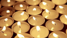 Candles background, prayer candle in church decoration stock video footage