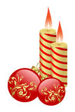 Candles and balls. The burning candles and balls it are Christmas Royalty Free Stock Image