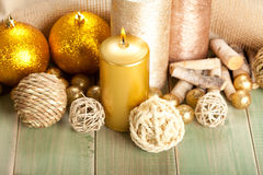 Candles and balls Royalty Free Stock Images