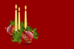 Candles and balls. Decoration with copy space royalty free illustration