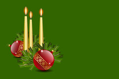 Candles and balls. Decoration with copy space vector illustration