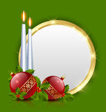 Candles and balls. Decoration with golden plaque royalty free illustration