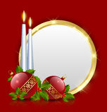 Candles and balls with plaque. Candles and balls decoration with golden plaque royalty free illustration