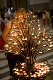 Candles in the Basilica of Santa Croce, Florence, Italy, Europe Royalty Free Stock Images