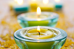 Candles with bath salt Stock Photo