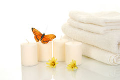 Candles and bath towels Stock Photography
