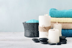 Candles with bath towels Stock Photography