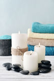 Candles with bath towels Royalty Free Stock Photo