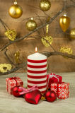 Candles and baubles Christmas arrangement Stock Photos