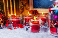 Candles and baubles for Christmas Stock Photos