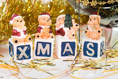 Candles - bears. Candles with bears among christmas decorations Royalty Free Stock Photography
