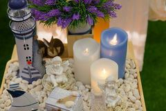 Candles beautiful decoration of home and spa Stock Image