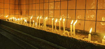 Candles. In a beautiful St Antuan church in Istanbul, Turkey Royalty Free Stock Photos