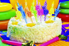 Candles on the birthday cake Stock Images