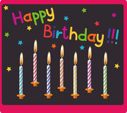 Candles on birthday. Card happy birthday with multi colored candles Stock Photography