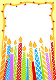 Candles Birthday Invitation Card. Invitation card with colorful candles and space on top to write message or the age of the person having a birthday royalty free illustration