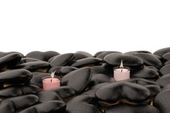 Candles and black stone heart. 3D illustration. Royalty Free Stock Images