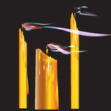Candles blown off. Three candles blown off vector and illustration Royalty Free Stock Photo