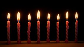 Candles Blown Out On Cake. Candles on birthday cake are blown out stock footage
