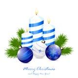 Candles and blue Christmas balls Stock Photos