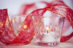 Candles on a blurred background Royalty Free Stock Photos