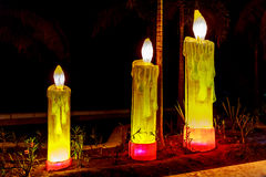 Candles on Boardwalk Royalty Free Stock Photos