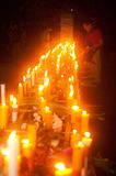 Candles in boat during Loykratong festival in Laos. Royalty Free Stock Images