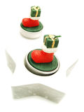 Candles with boots as Christmas decoration Stock Images