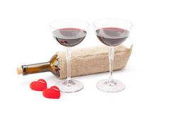 Candles ,bottle of wine and glasses with red wine Royalty Free Stock Image