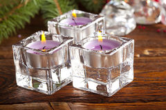 Candles and branch of spruce tree Royalty Free Stock Photography